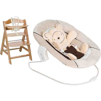 Hochstuhl Alpha+B, natural, inkl. Bouncer 2in1, Hearts beige