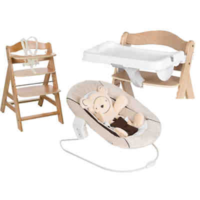 Hochstuhl Alpha+B, natural, inkl. Bouncer 2in1, Hearts beige & Tray, white