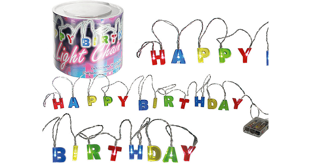 Lichterkette Happy Birthday mit 15 LEDs