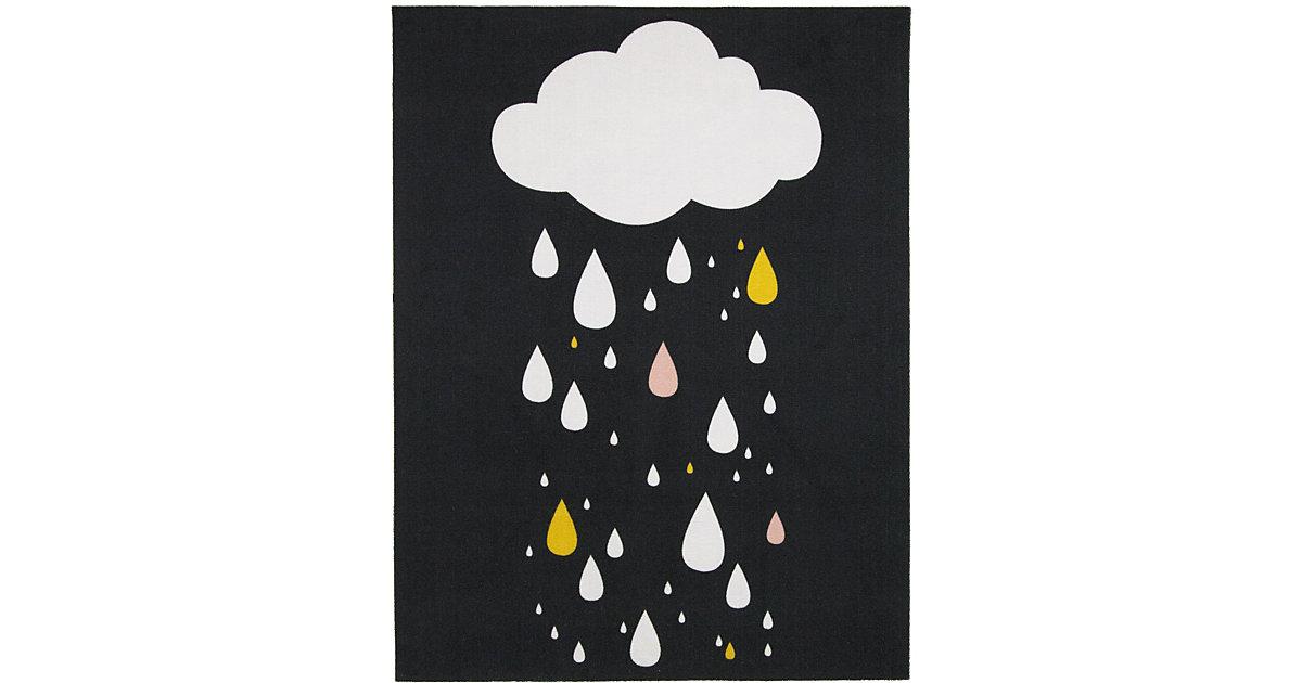 Kinderteppich Raindrops Black, mehrfarbig, 95 x 125 cm