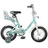 """Велосипед Novatrack 12"""" UL, зелёный, сиденье для куклы"""
