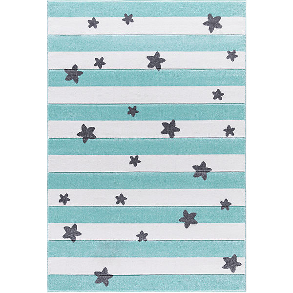 Kinderteppich, STARS and STRIPES mint/weiß