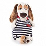 Мягкая игрушка Budi Basa Собака Бартоломей в комбинезоне в полоску, 27 см