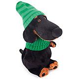 Мягкая игрушка Budi Basa Собака Ваксон в зеленой шапке и шарфе, 29 см