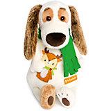 Мягкая игрушка Budi Basa Собака Бартоломей в шарфе и с оленем, 27 см