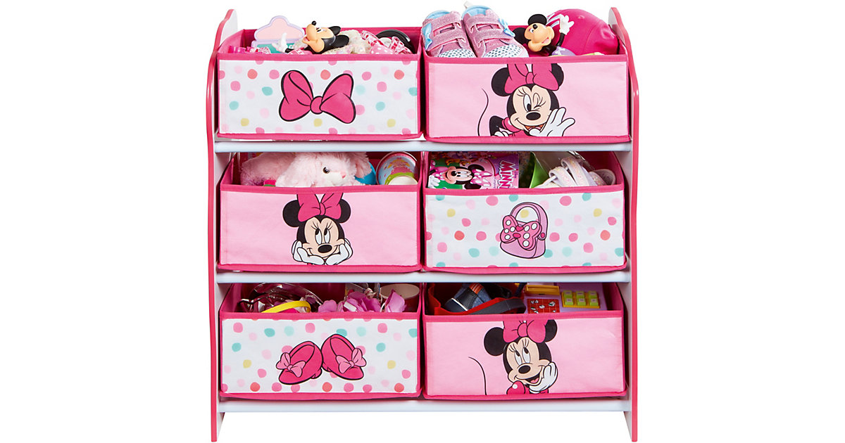 Image of 6-Boxen Regal, Minnie Mouse, rosa/weiß