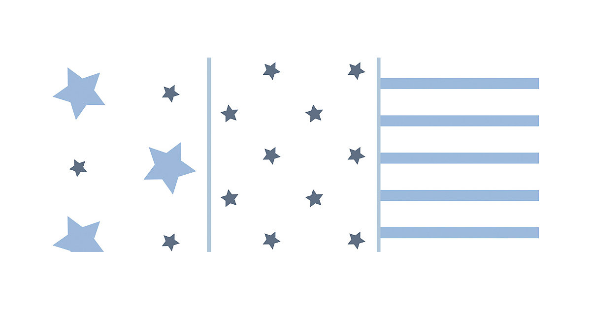 Odenwälder · Moltontuch, Sterne und Streifen ice blue, 3er Pack, 80 x 80 cm