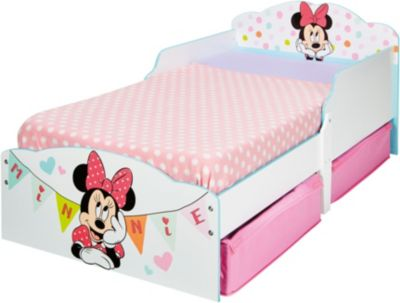 Kinderbett de Luxe, mit 2 Schubkästen, Minnie Mouse, rosaweiß, 70 x 140 cm, Disney Minnie Mouse