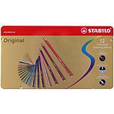 Набор цветных карандашей Stabilo original 12 цв, металл