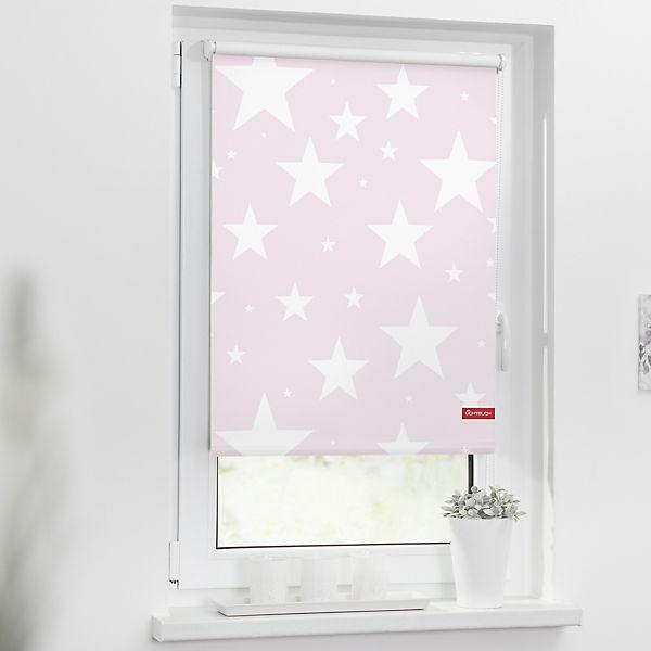 rollo klemmfix ohne bohren verdunkelung sterne rosa. Black Bedroom Furniture Sets. Home Design Ideas
