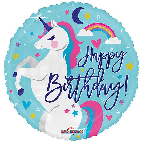 Folienballon Happy Birthday Einhorn, Karaloon