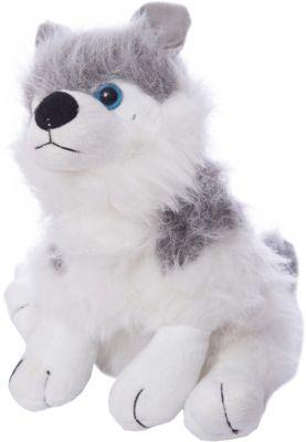 Мягкая игрушка Abtoys Собака серая с белым, 18 см