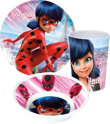 Miraculous Ladybug Kinder Melamin Geschirr Set 3-tlg