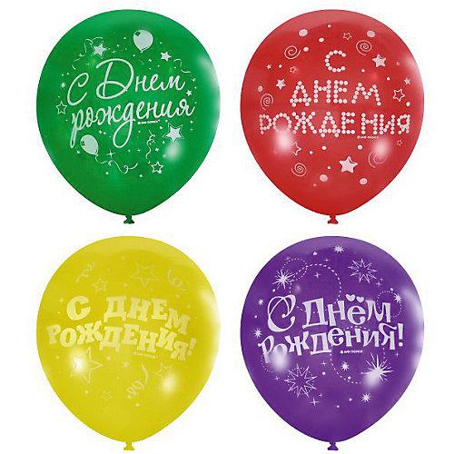 """Воздушные шары Latex Occidental """"С днём рождения. Серпантин"""" 50 шт., пастель + декоратор (шёлк) от Latex Occidental"""