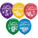 """Воздушные шары Latex Occidental """"С днём рождения"""" 100 шт., пастель + декоратор (шёлк)"""
