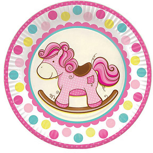 """Тарелки Патибум """"Лошадка. Малышка"""" 23 см бумажные ламинированные, 6 шт., розовые от Патибум"""