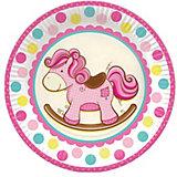 """Тарелки Патибум """"Лошадка. Малышка"""" 23 см бумажные ламинированные, 6 шт., розовые"""
