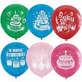 """Воздушные шары Latex Occidental """"Торт с днём рождения"""" 50 шт., пастель + декоратор"""