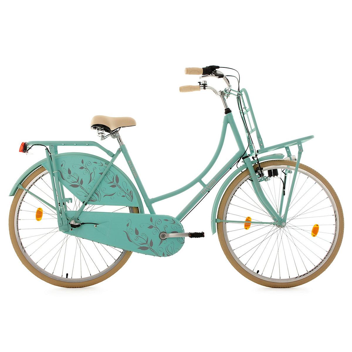 Hollandrad KS Cycling Tussaud 28 Zoll 54cm 3 Gang mit Frontgepäckträger Damen - matt grün