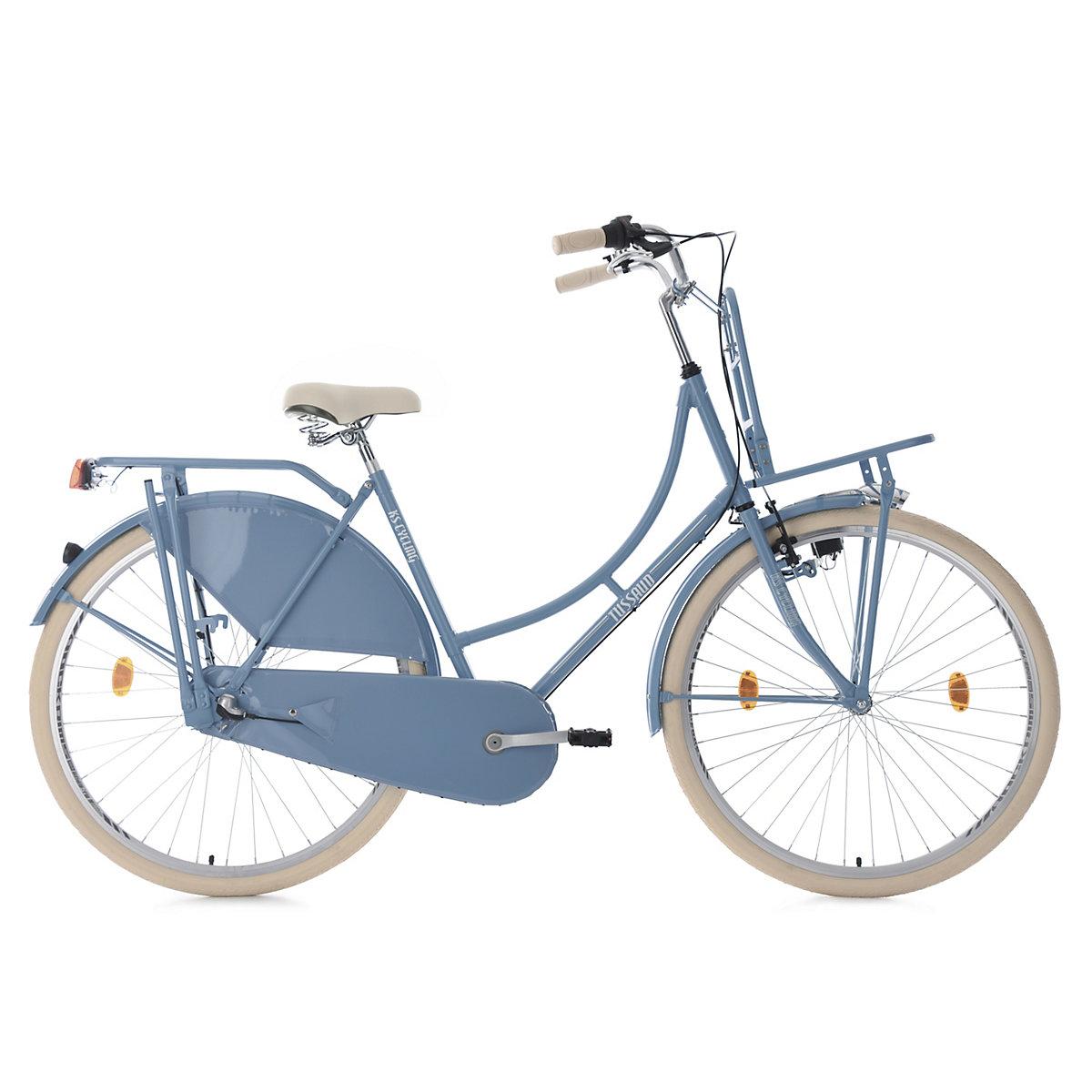Hollandrad KS Cycling Tussaud 28 Zoll 54cm 3 Gang mit Frontgepäckträger Damen – blau