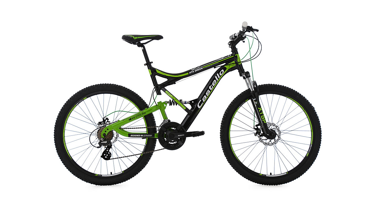 KS Cycling · Moutainbike Fully Zoll Castello, schwarz-grün Gr. 26