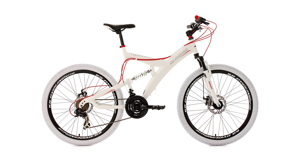 KS Cycling · Moutainbike Fully Zoll Topspin, weiß-rot Gr. 26