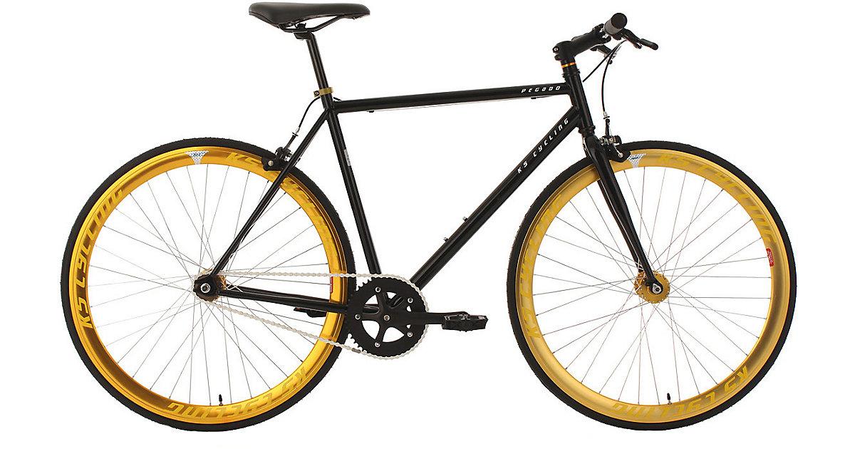 KS Cycling · Fitnessbike Fixie Pegado Rahmenhöhe 56 cm 28 Zoll, schwarz-gold