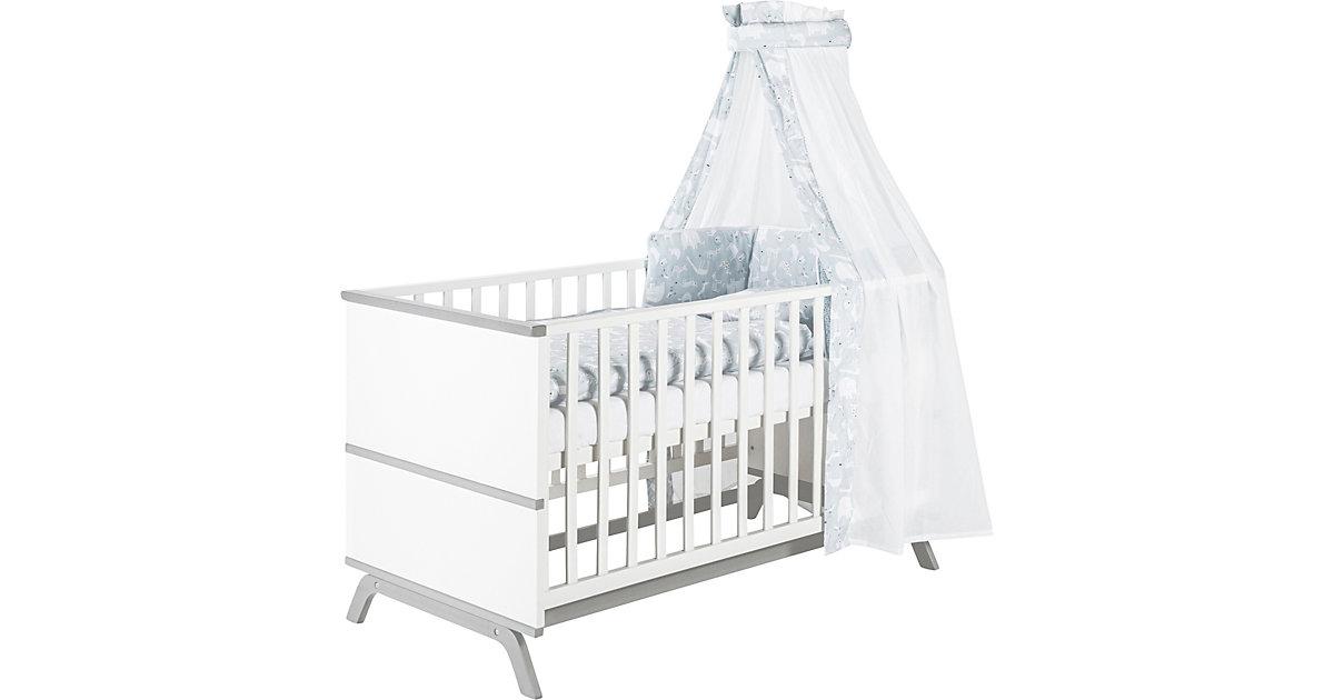 Schardt · Kinderbett Vicky, Buche massiv, weiß/grau lackiert, 70 x 140 cm