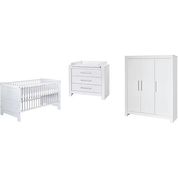 Komplett Kinderzimmer Nordic White 3 Tlg Kombi Kinderbett 70 X 140
