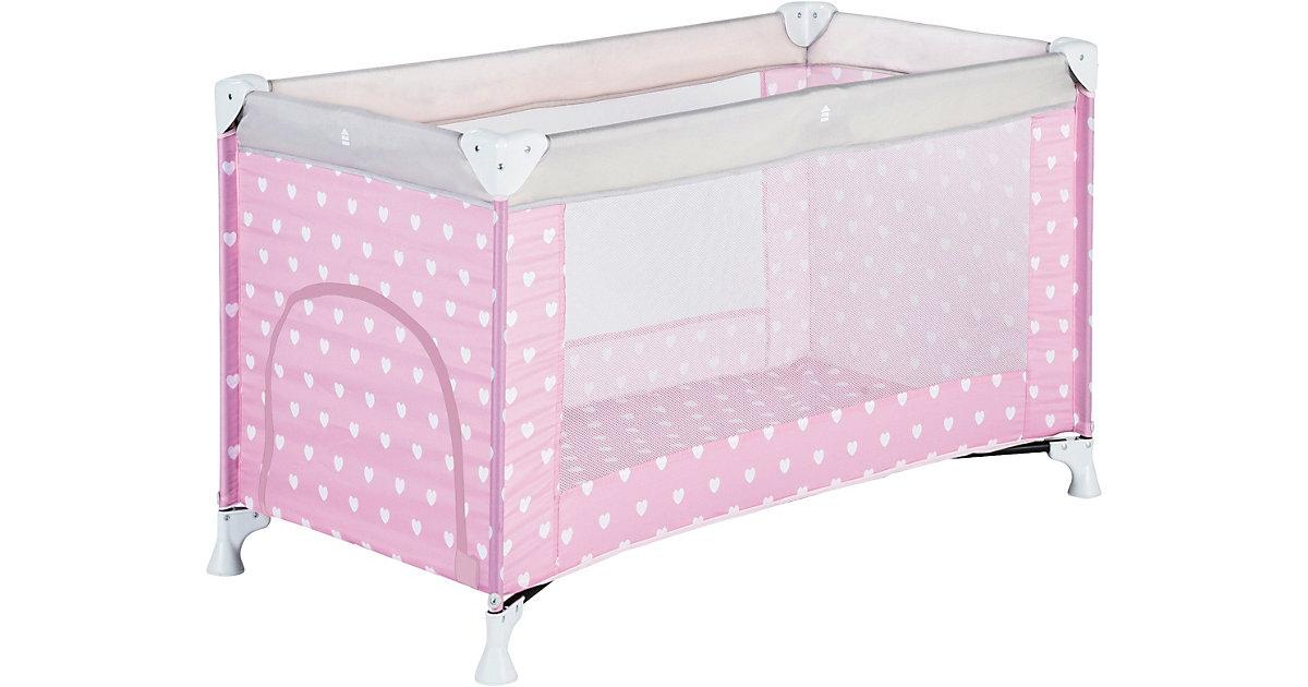 Reisebett, Herzchen rosa, 60 x 120 cm
