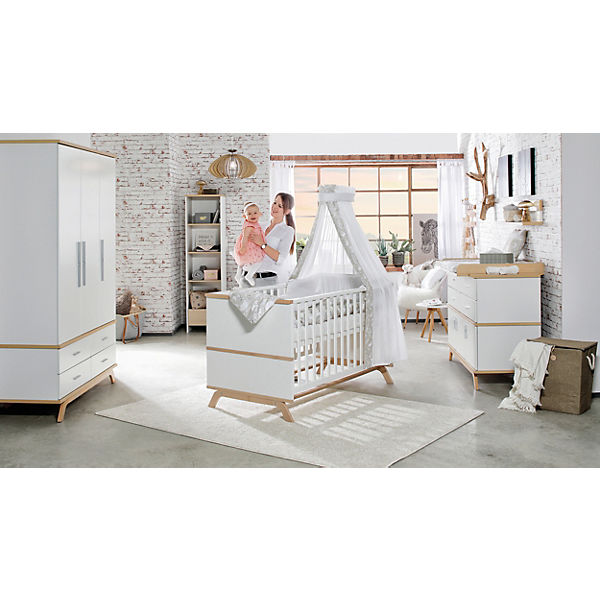 komplett kinderzimmer vicky oak 3 tlg kombi kinderbett 70 x 140 cm umbauseiten wickelkommode. Black Bedroom Furniture Sets. Home Design Ideas