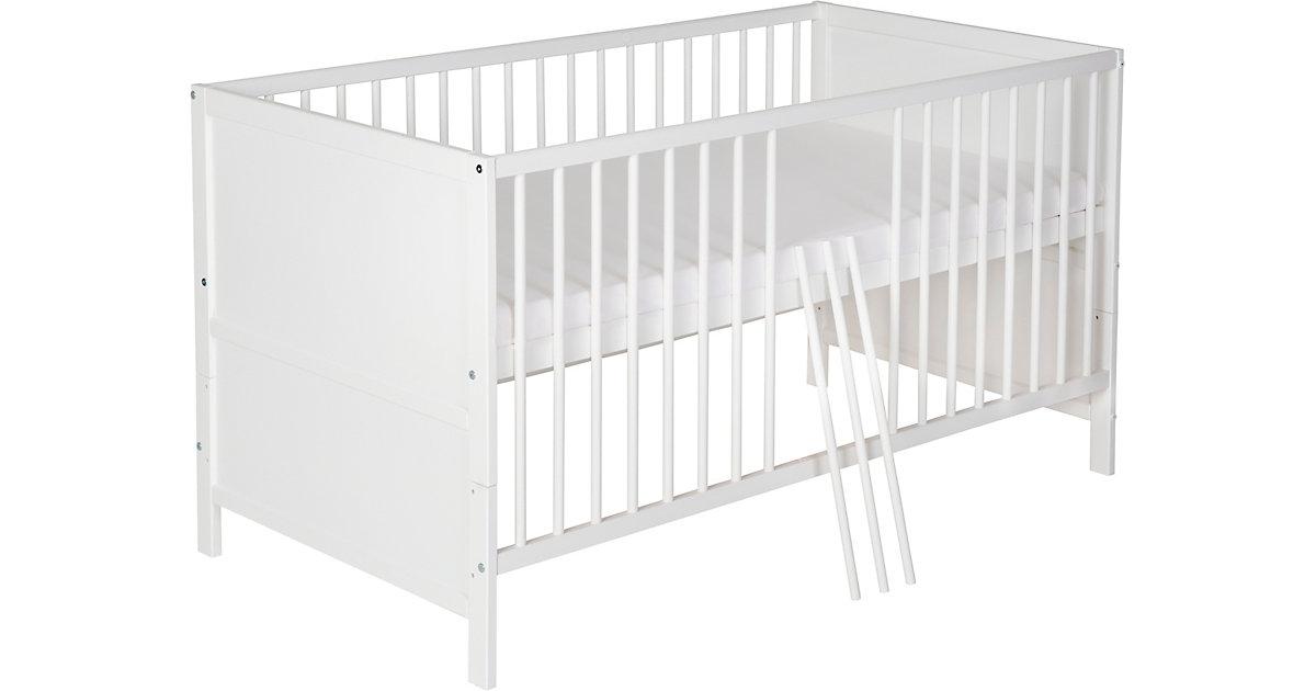 Kinderbett Lenny, Kiefer massiv, weiß lackiert, 70 x 140 cm