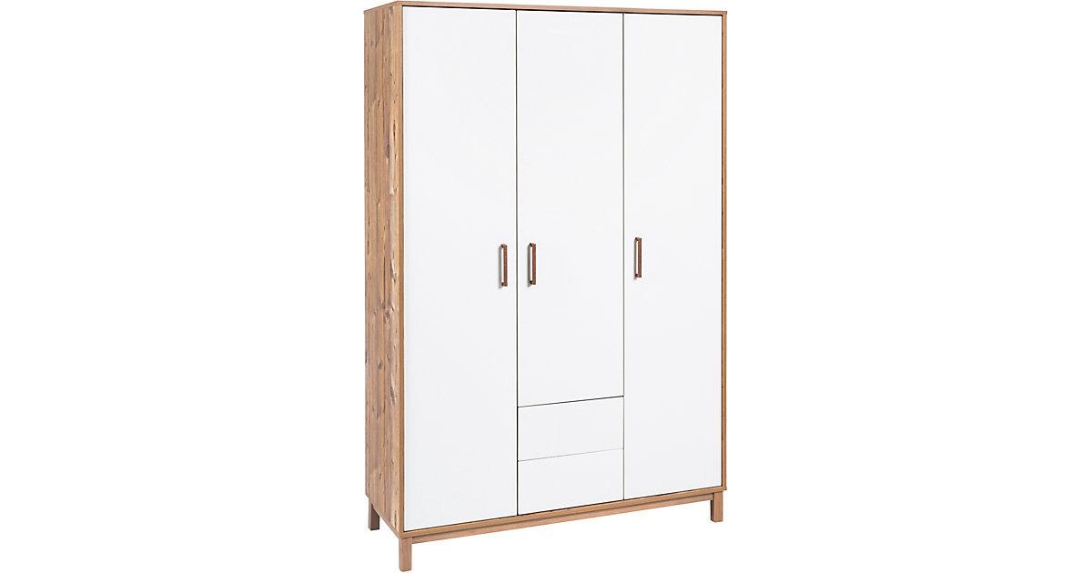 Schardt · Kleiderschrank Timber, 3-türig, weiß/grau lackiert, Holzdekor Bramberg Fichte