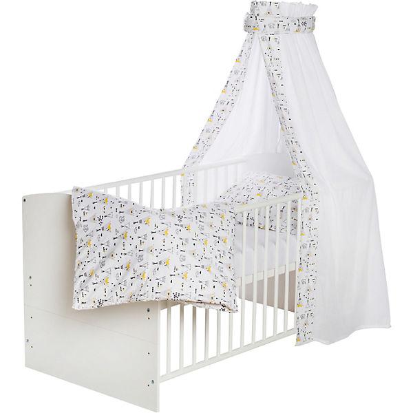 Komplett Kinderbett Classic White, Tippi, 5-tlg. (Kinderbett, Matratze,  Himmelstange, Nestchen, Bettwäsche), Buche massiv, weiß lackiert, 70 x 140  cm, ...