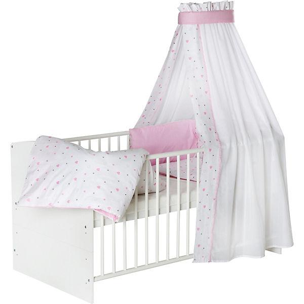 Komplett Kinderbett Classic White Herzchen Rosa 5 Tlg Kinderbett