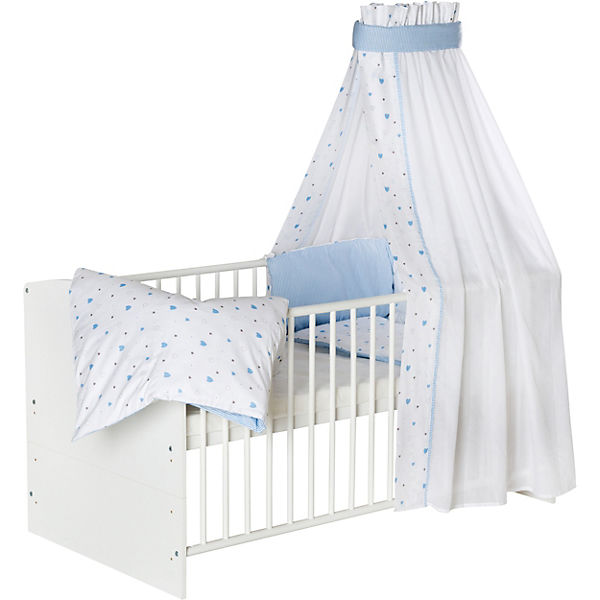 Komplett Kinderbett Classic White Herzchen Hellblau 5 Tlg