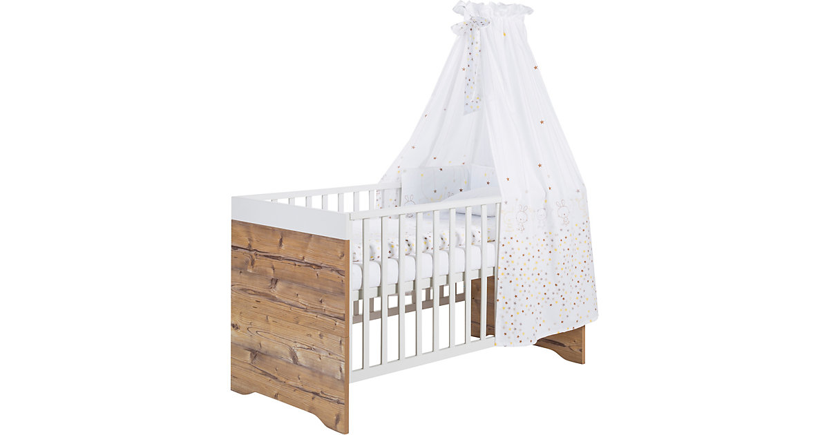 Schardt · Kinderbett Timber, Buche massiv, weiß/grau lackiert, 70 x 140 cm