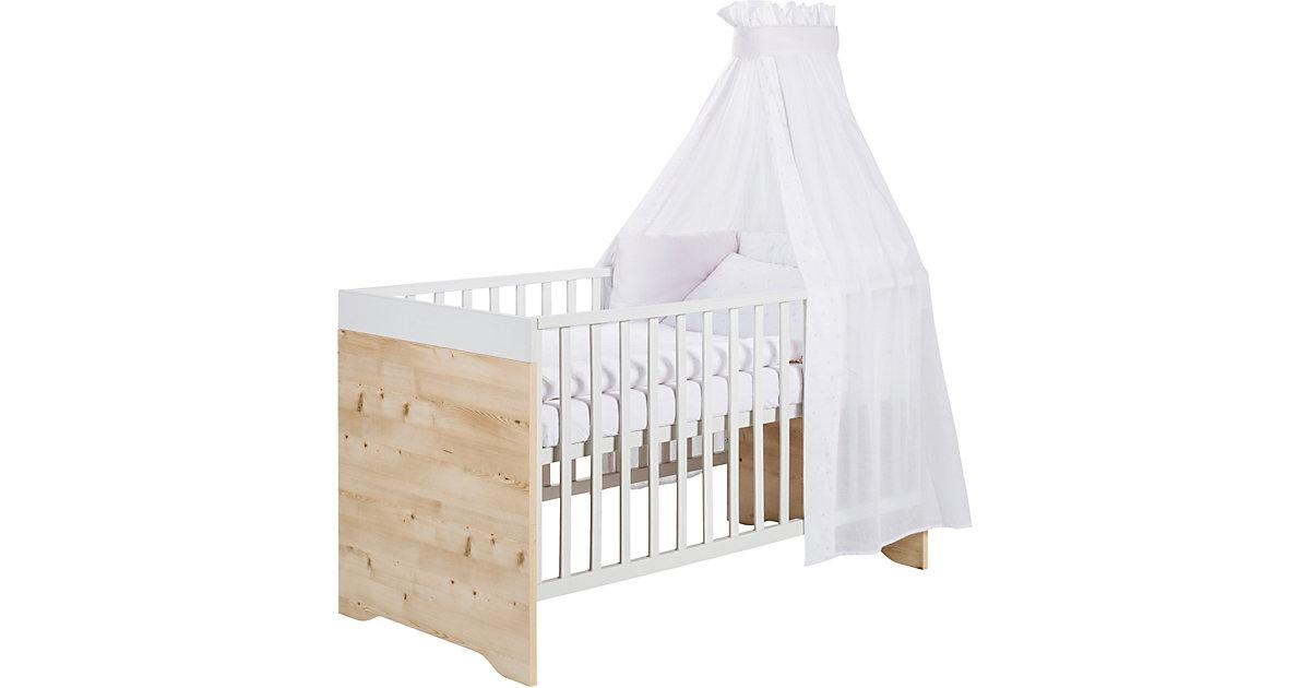 Kinderbett Timber Pinie, Buche massiv, weiß/grau lackiert, 70 x 140 cm