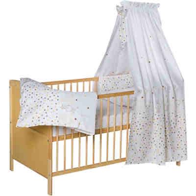 Komplett Kinderbett Conny, Teddystar, 5-tlg. (Kinderbett, Matratze,  Himmelstange, Nestchen, Bettwäsche), Kiefer massiv, natur lackiert, 70 x  140 cm, ...