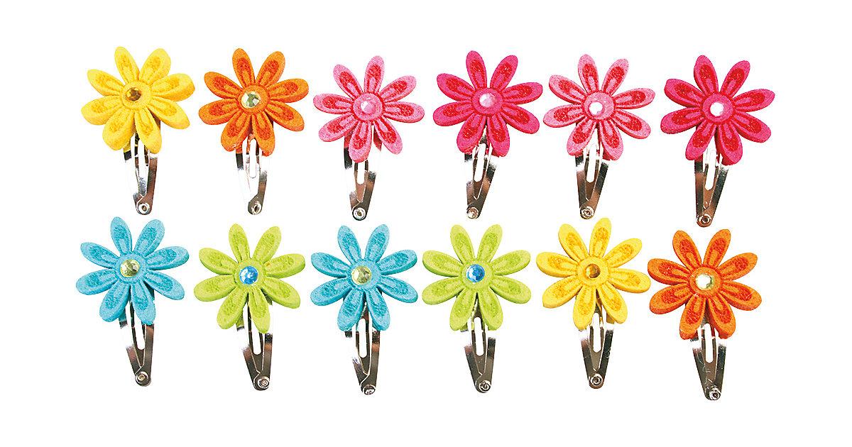 Haarspangen Filzblumen, 12 Stück