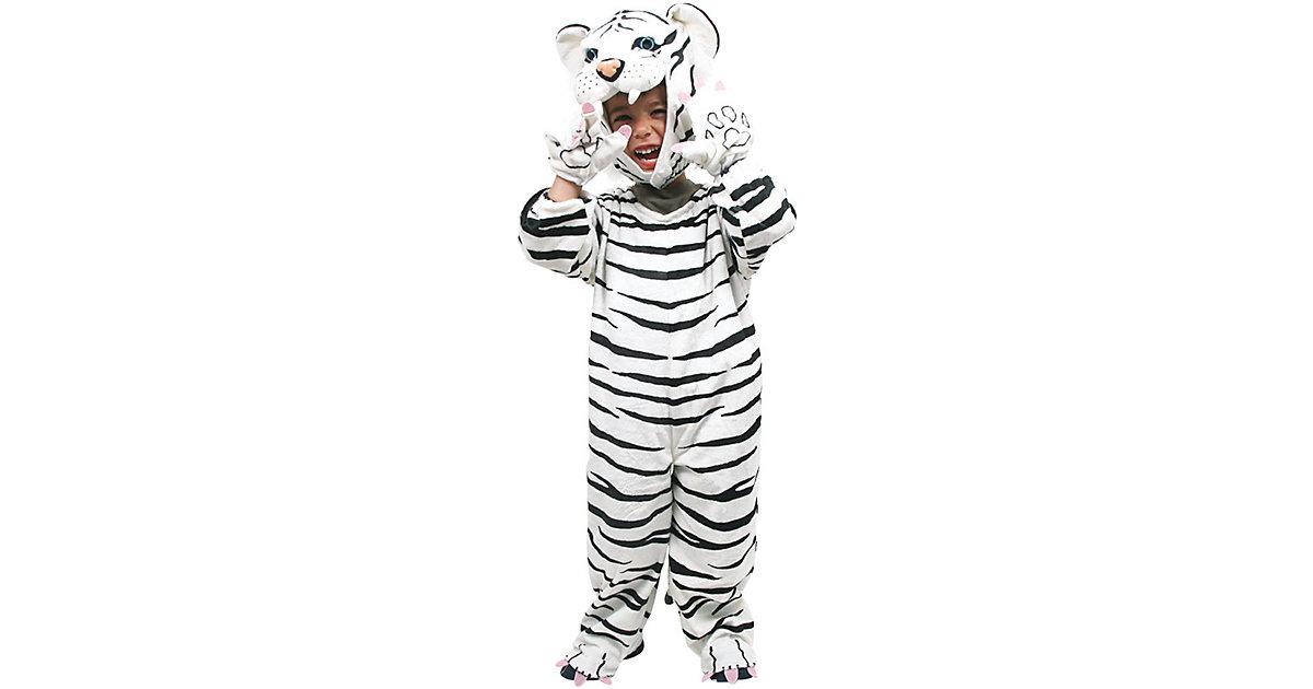 Kostüm weißer Tiger, 4-tlg. schwarz/weiß Gr. 98/110 Jungen Kleinkinder