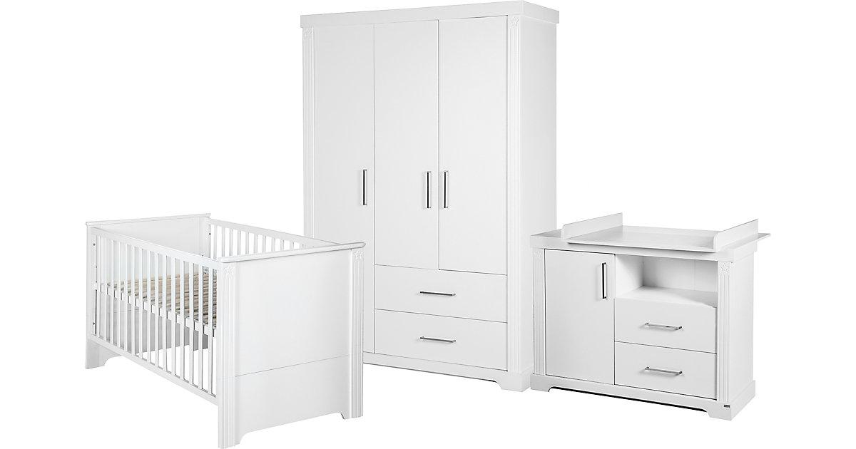Komplett Kinderzimmer Maxi, 3-tlg. (Kinderbett, Wickelkommode und Kleiderschrank), weiß   Kinderzimmer > Komplett-Kinderzimmer   Weiß   Roba