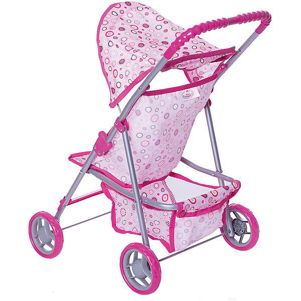 Коляска для кукол Карапуз с корзиной, розовая