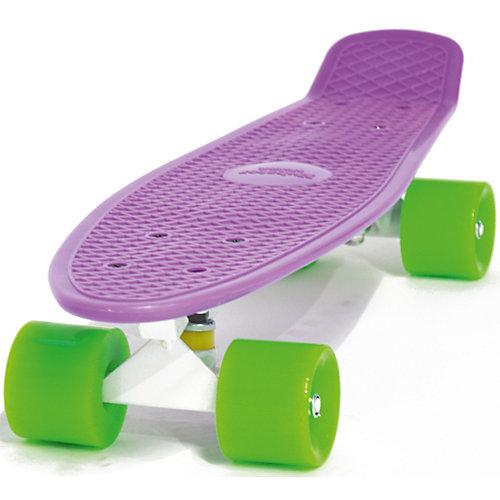 Скейтборд Hubster Cruiser 22, фиолетовый с зелеными колесами от Hubster