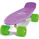 Скейтборд Hubster Cruiser 22, фиолетовый с зелеными колесами