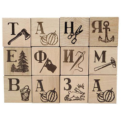 """Кубики деревянные Десятое королевство """"Азбука"""", 12 шт (Выжженные буквы) от Десятое королевство"""
