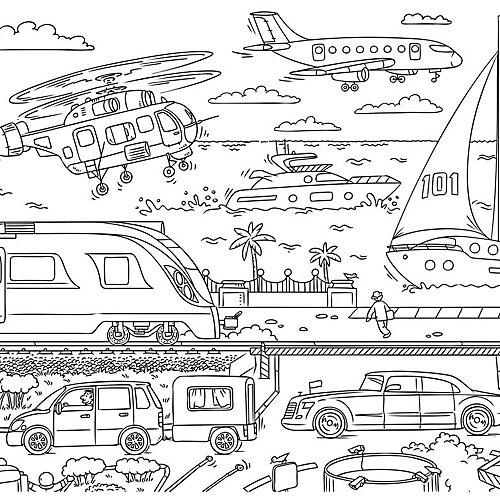"""Раскраска в конверте """"Транспорт. Серия Познаю мир"""", Издательство ГеоДом, 90х60 см от ГеоДом"""