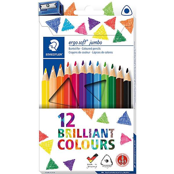Набор цветных карандашей Staedtler «Ergosoft Jumbo», 12 цветов + точилка