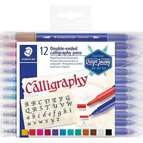 Набор двусторонних фломастеров для письма и дизайна Staedtler Calligraph duo, 12 цветов от Staedtler