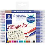 Набор двусторонних фломастеров для письма и дизайна Staedtler Calligraph duo, 12 цветов
